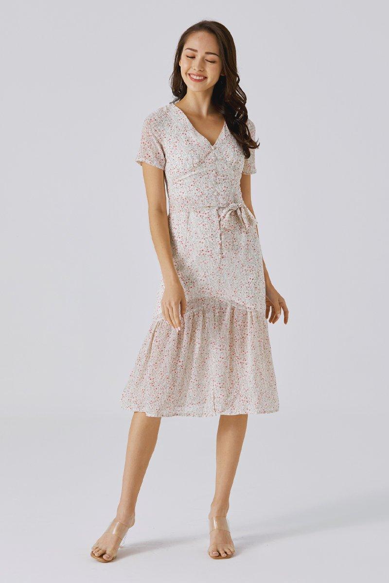 Renelia Floral Dress Ivory