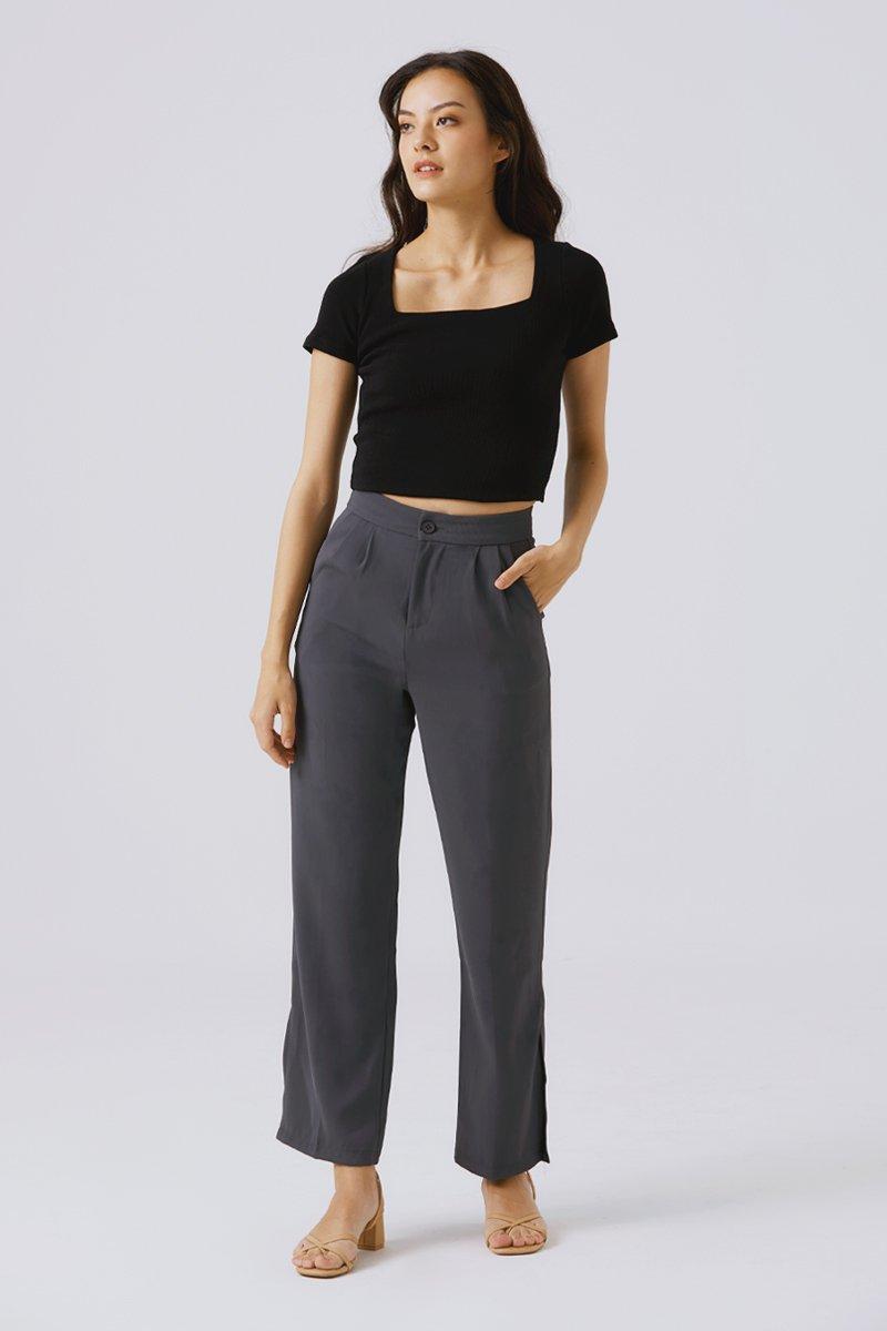 Larisa Side Slit Pants Pebble Grey