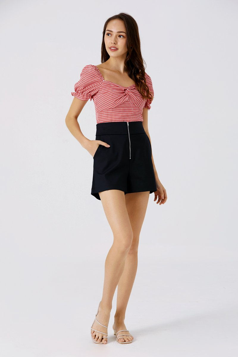 Selina Front Zip Shorts Black