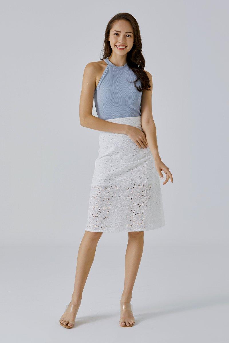 Kessie Eyelet Midi Skirt Ivory