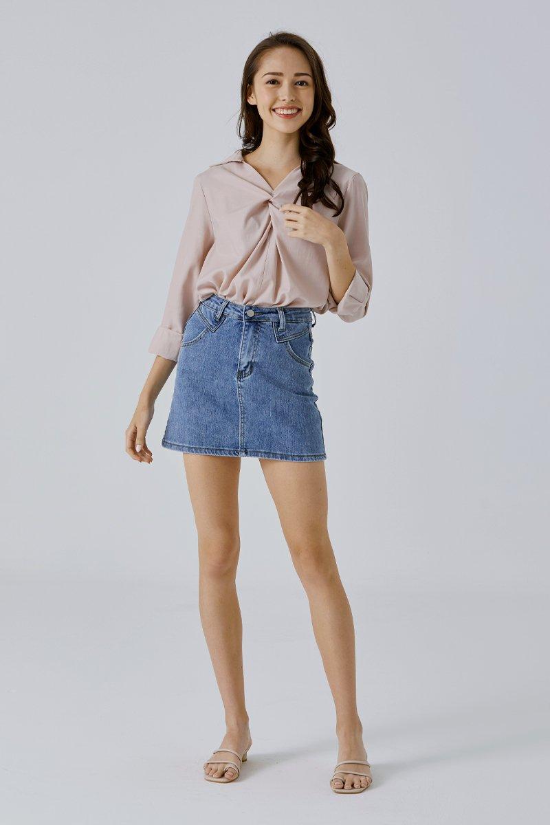 Elfie Denim Skirt Light Wash