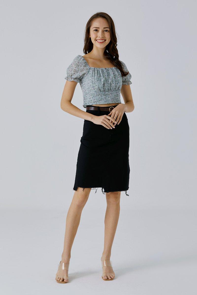 Elza Midi Denim Skirt Black