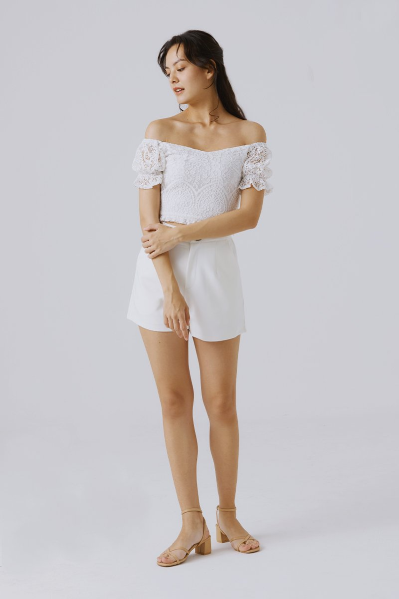 Noura Lace Crop Top Ivory
