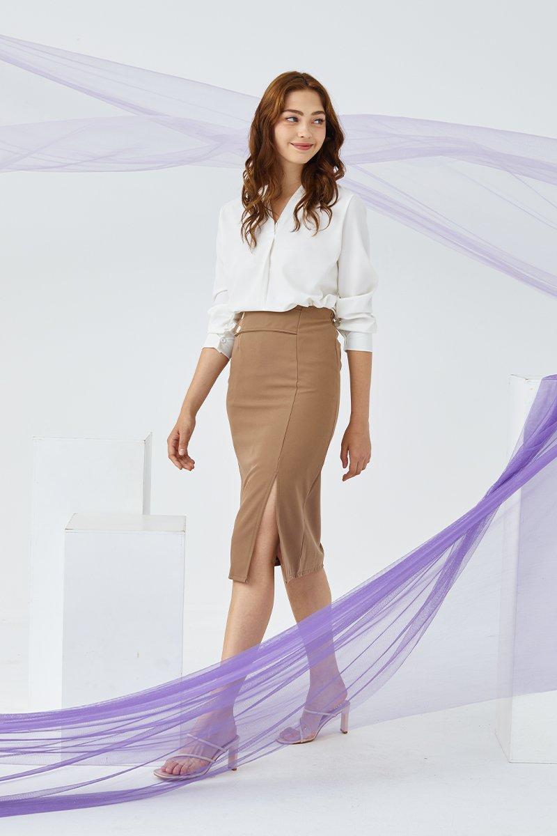 Genevie Midi Skirt cocoa