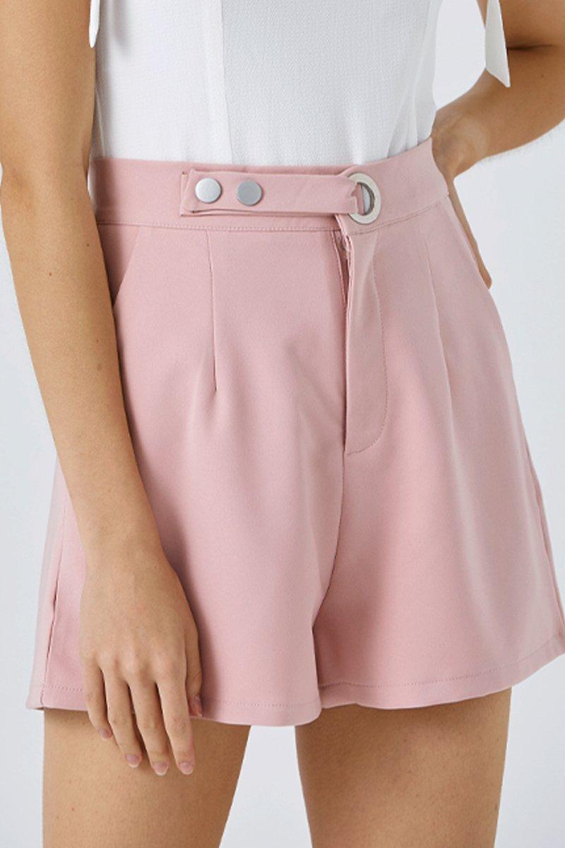 Devonne Eyelet Buckled Shorts Blush