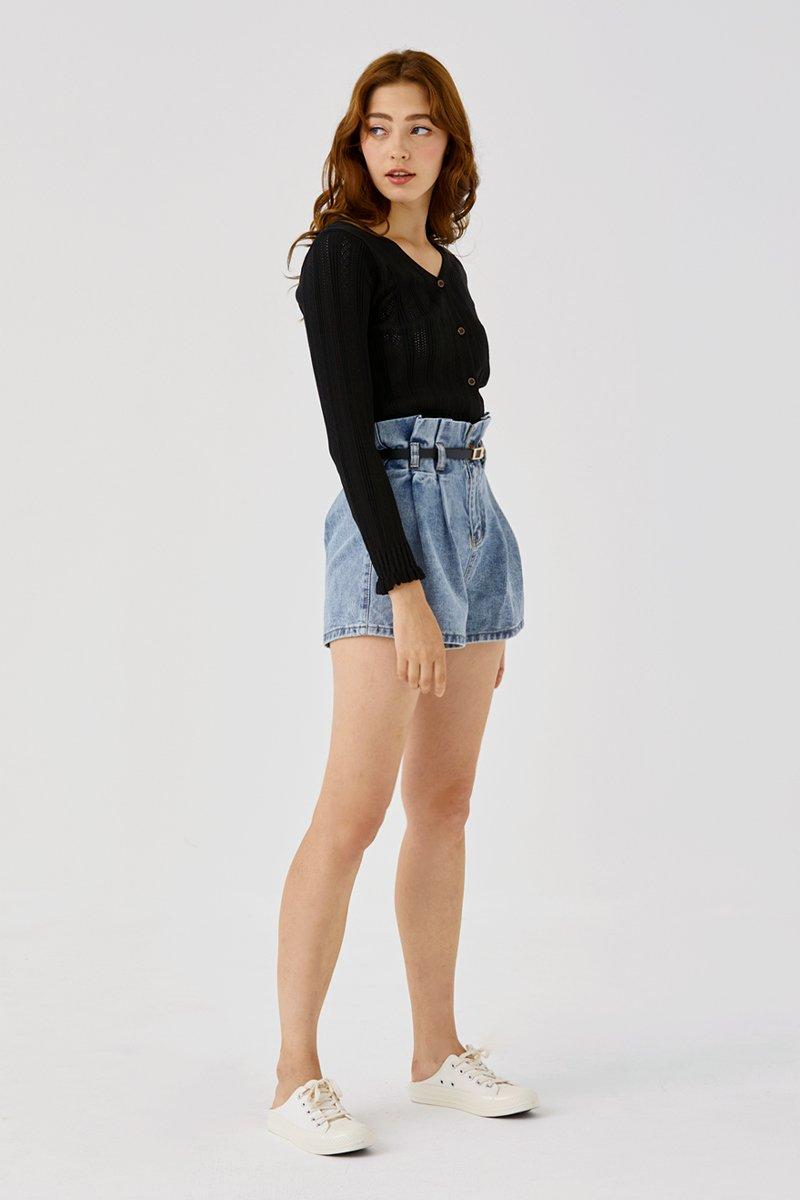 Gianina Paperbag Shorts Light Wash