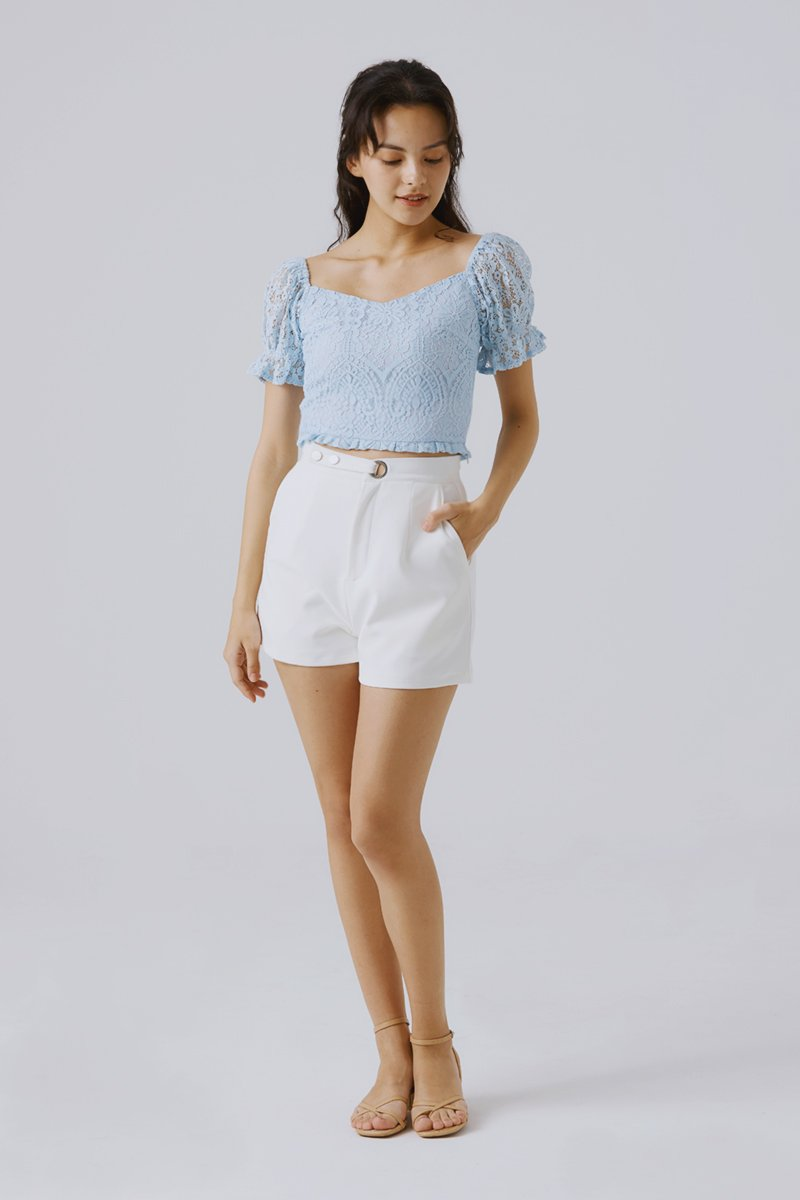 Noura Lace Crop Top Sky