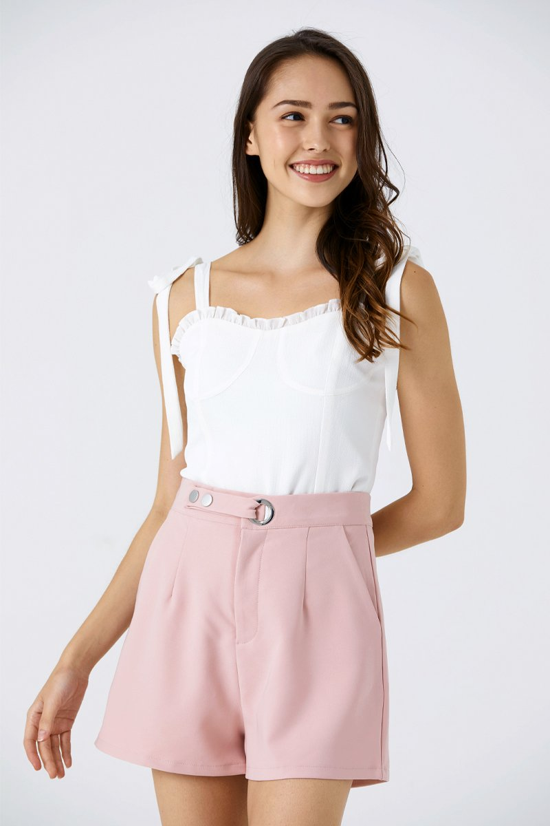 Devonne Eyelet Buckled Shorts Blush