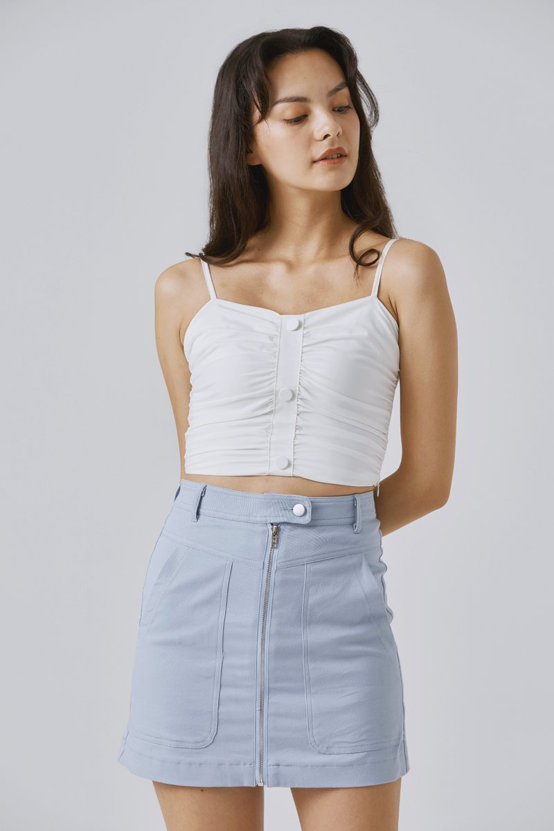 Cristley Front Zipped Denim Skirt Light Wash