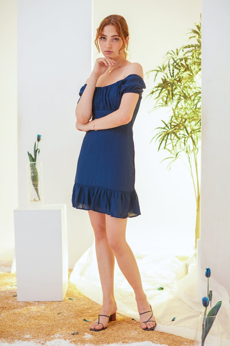 Amalie Puff Sleeve Dress Midnight