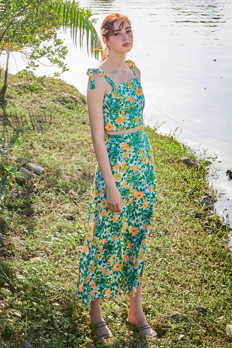 Taya Floral Dress Set Green
