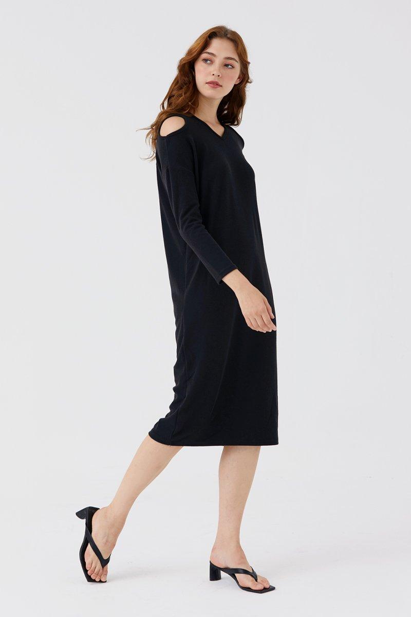 Francesce Cold-Shoulder Dress Black