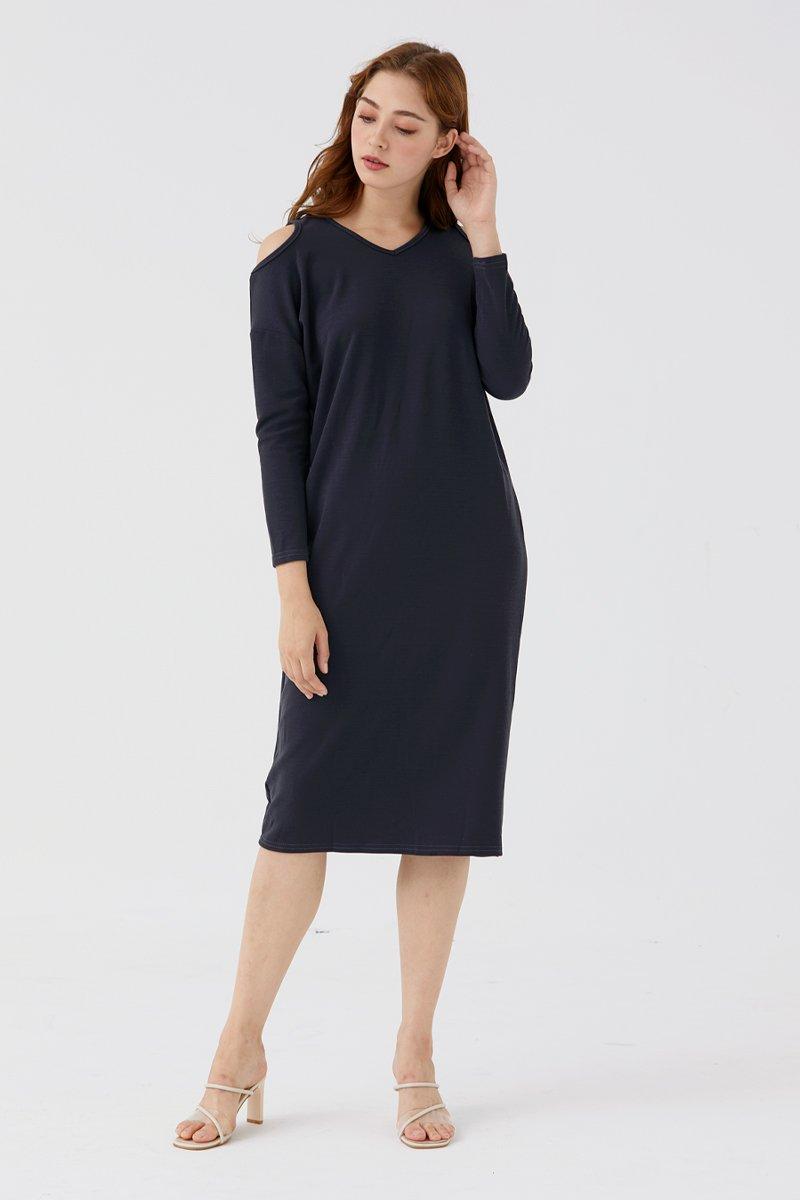 Francesce Cold-Shoulder Dress Grey