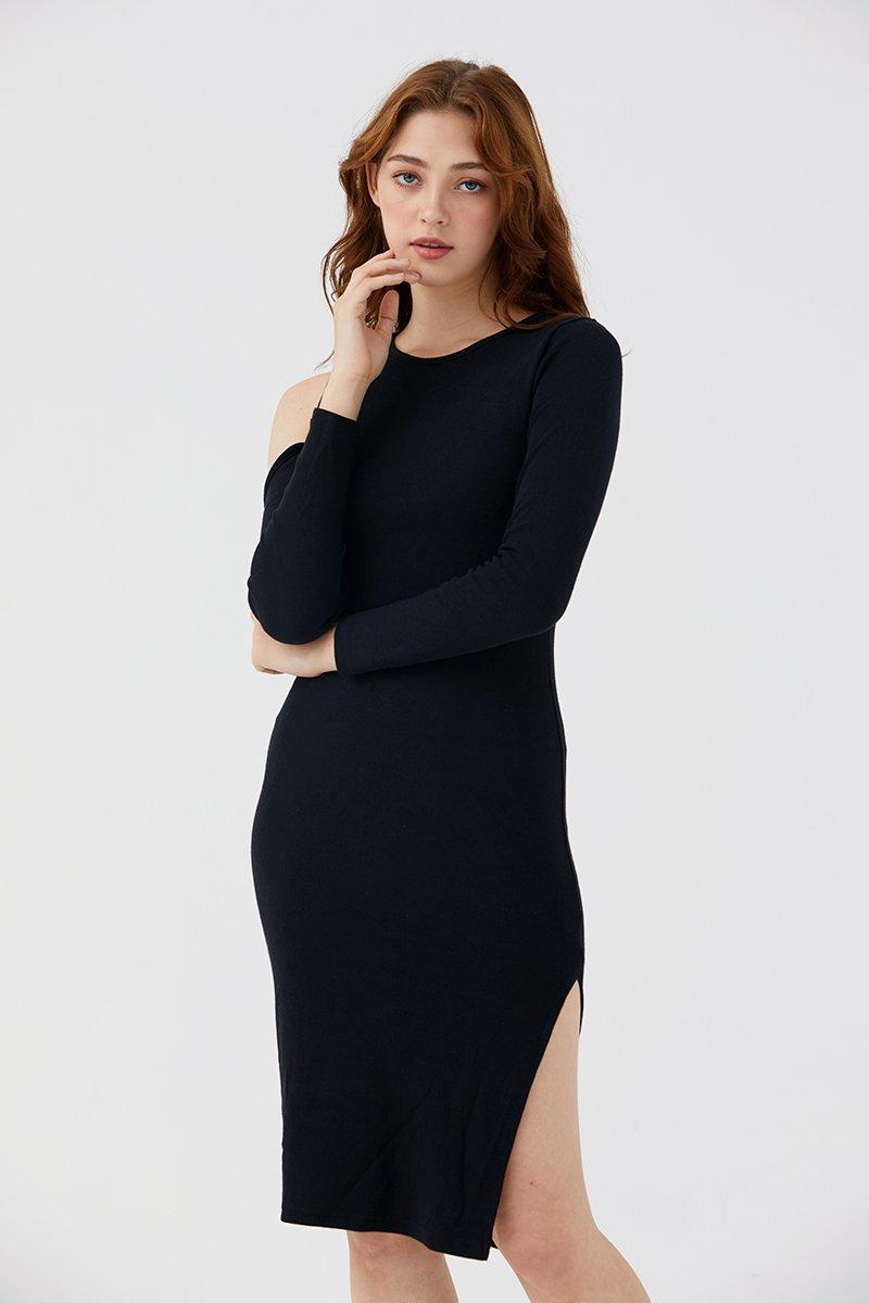 Dannica Cold-Shoulder Dress Black