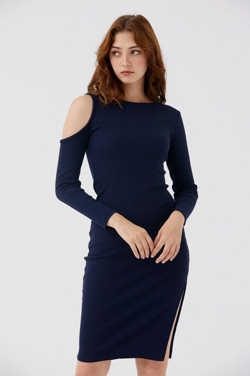Dannica Cold-Shoulder Dress Midnight