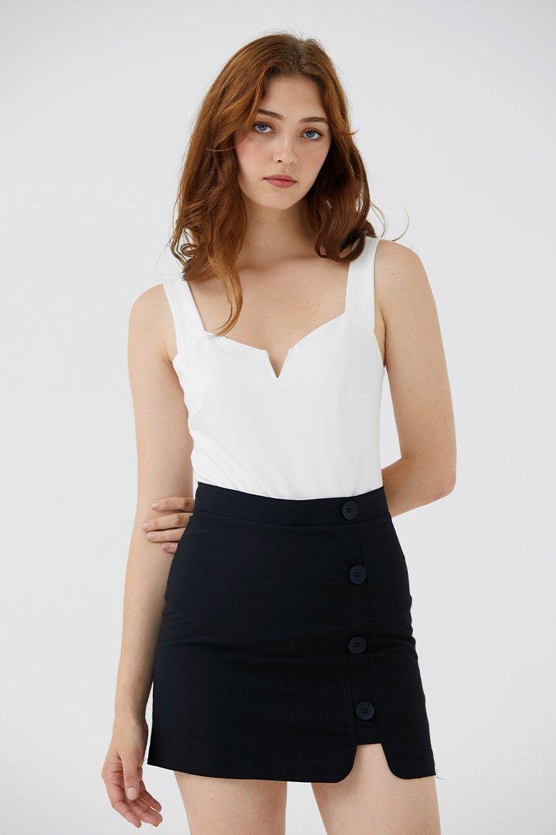 Gisella Button Skirt Black