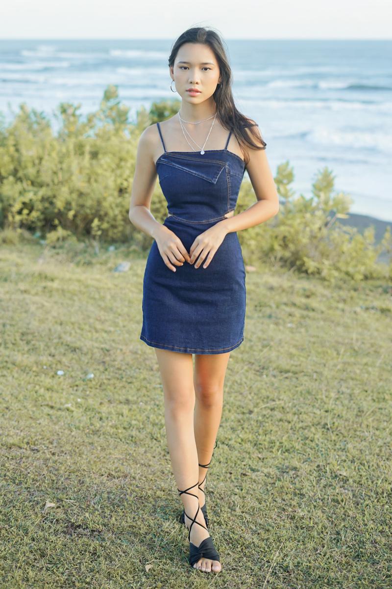 Camilie Denim Cut-out Dress Dark Wash