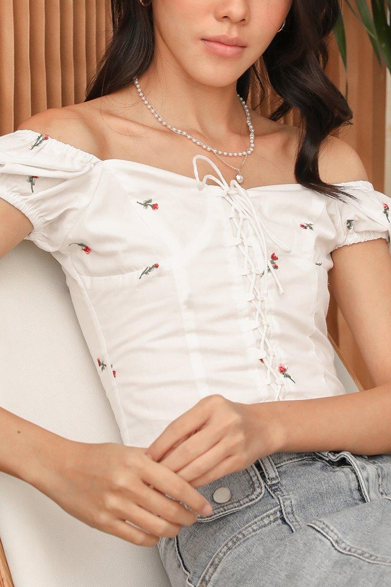 Rosie Floral Top Ivory*