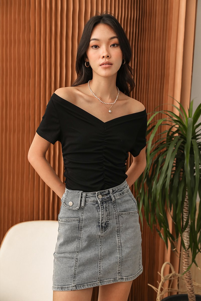 Camelia Ruched Top Black