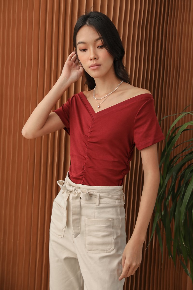 Camelia Ruched Top Wine