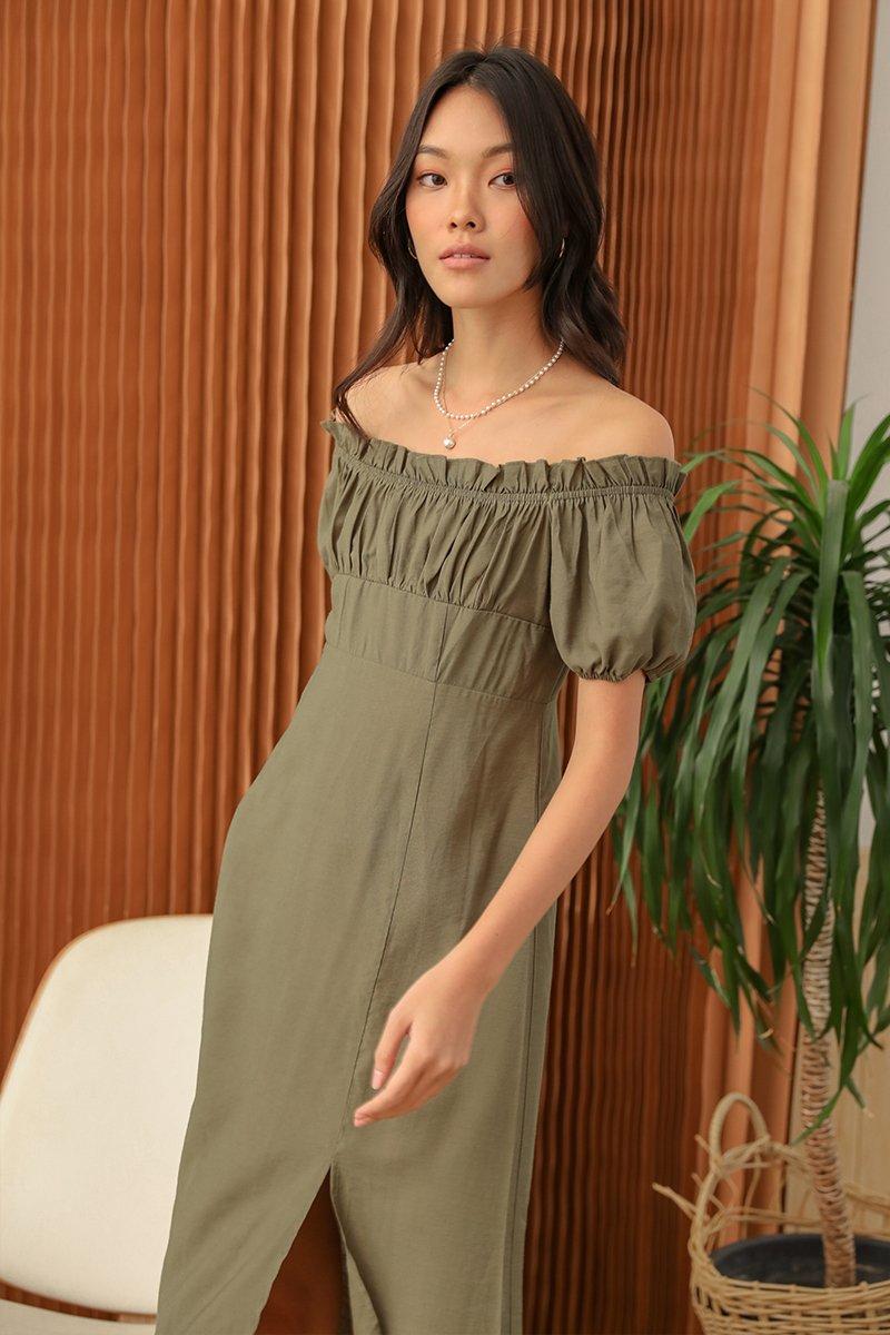 Clarisse Off-shoulder Midi Dress Forest
