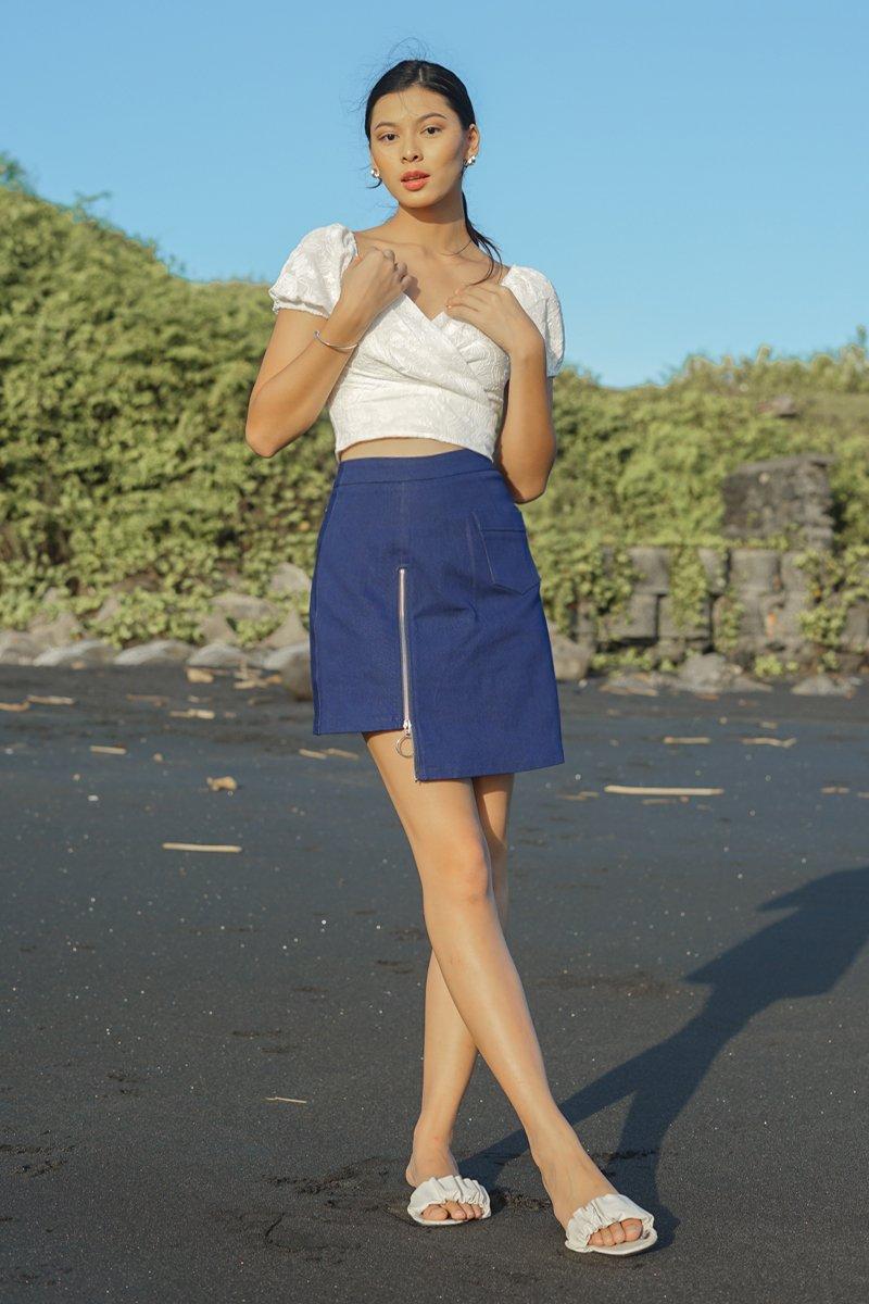 Ollie Asymmetrical Denim Skirt Dark Wash