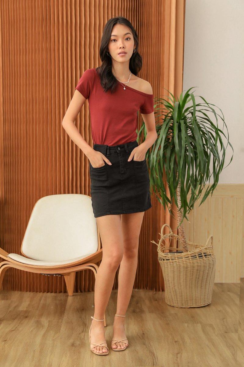 Kaen Denim Skirt Black