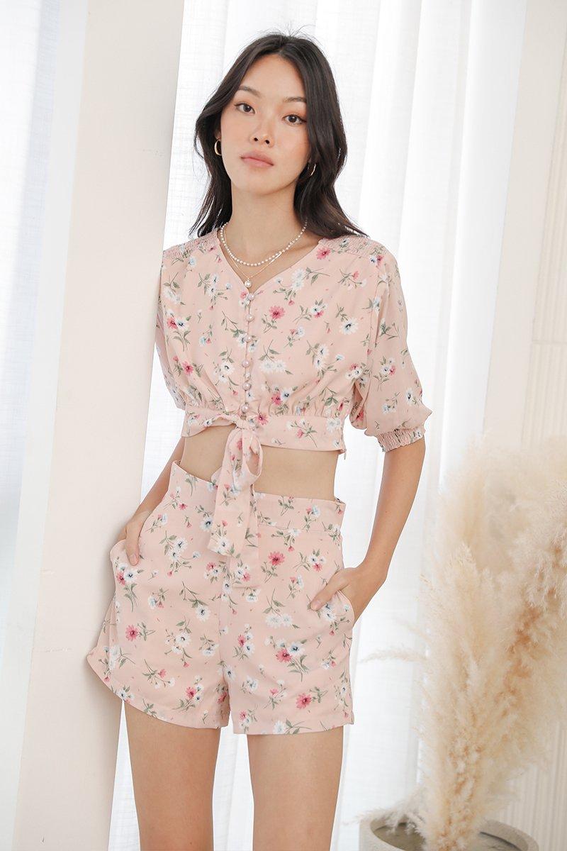 Hariett Tie-Front Floral Crop Top Blush