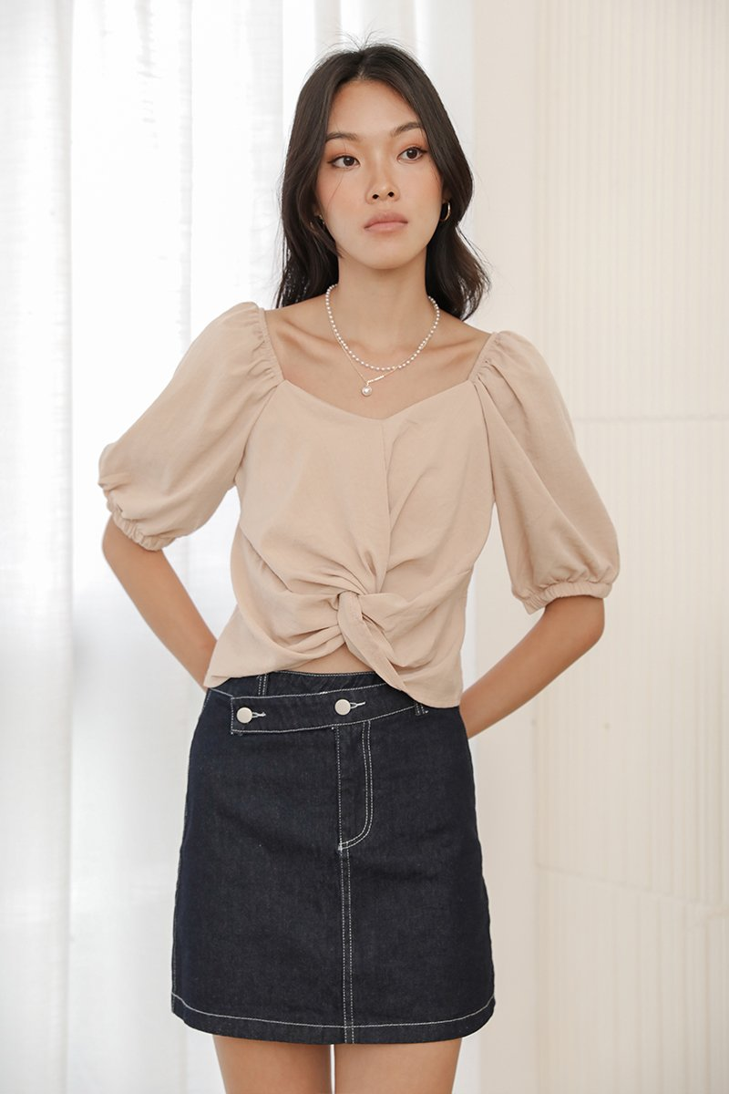 Anita Puff Sleeve Twist Front Knot Top Nude
