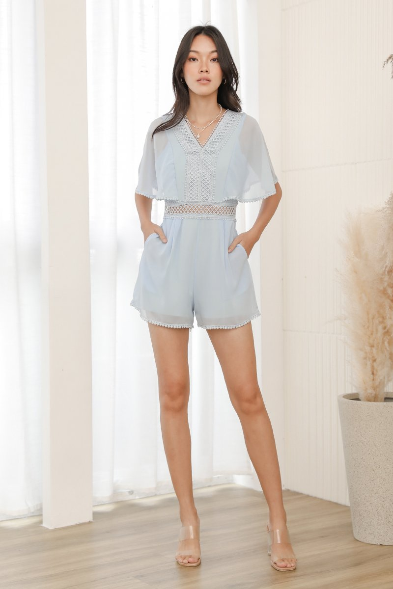 Joleen Lace Trim Flare Out Romper Sky