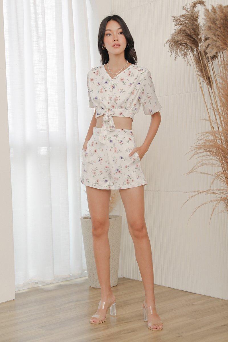 Hariett Floral Flare Shorts Ivory