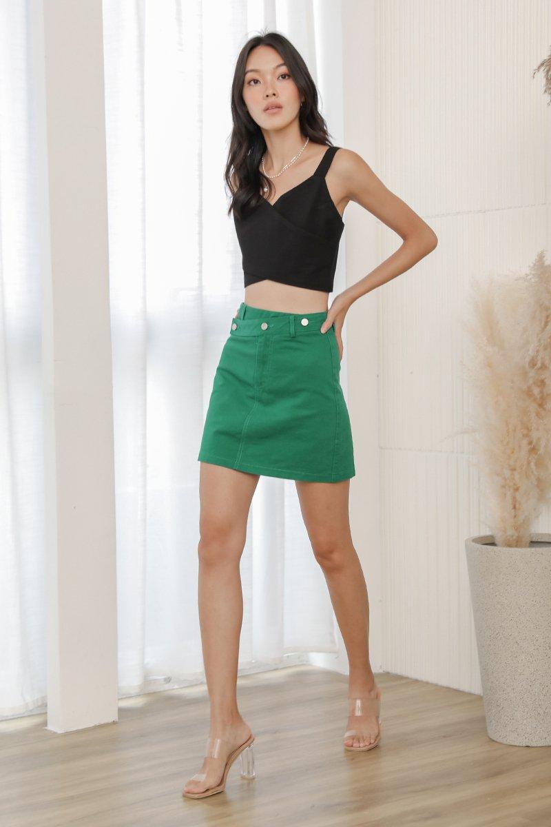 Nala A Line Denim Skirt Pickle Green