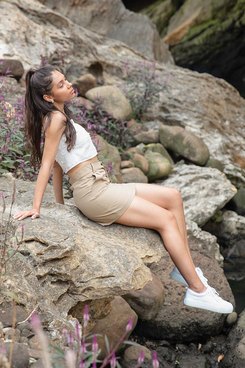 Ines Belted Skirt Khaki