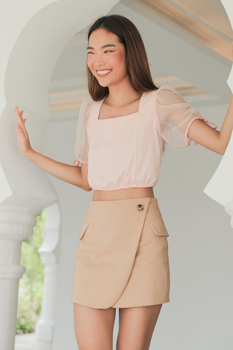Eilidh Puff Sleeve Lace Crop Top Blush