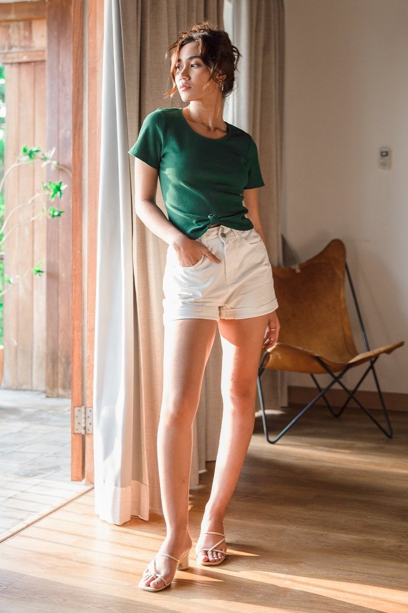 Eilish Front Knot Top Forest