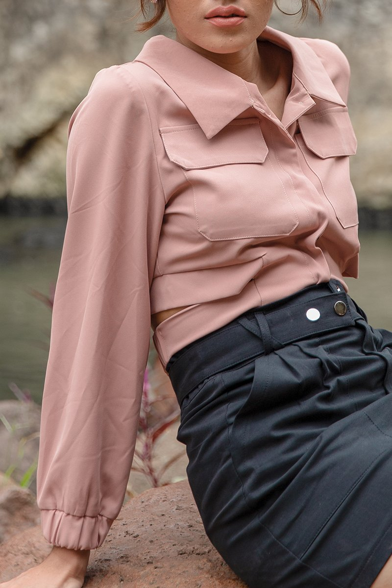 Ivy Collared Long Sleeve Top Blush