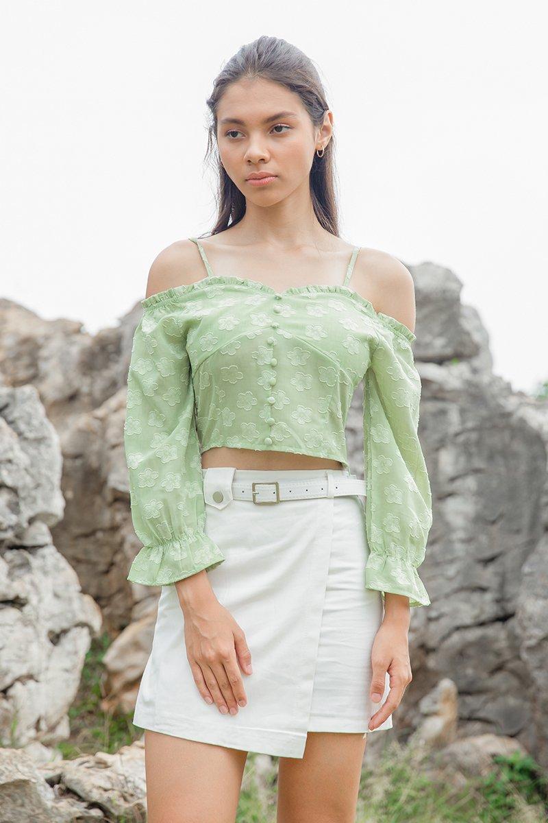 Khaleesi Cold Shoulder Crop Top Mint