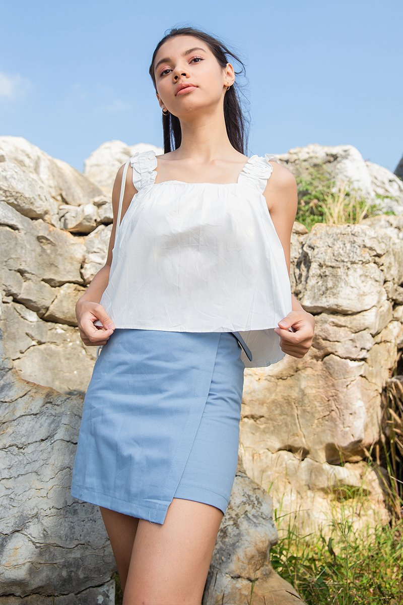 Mirli Basic Square Neck Ruched Top Ivory
