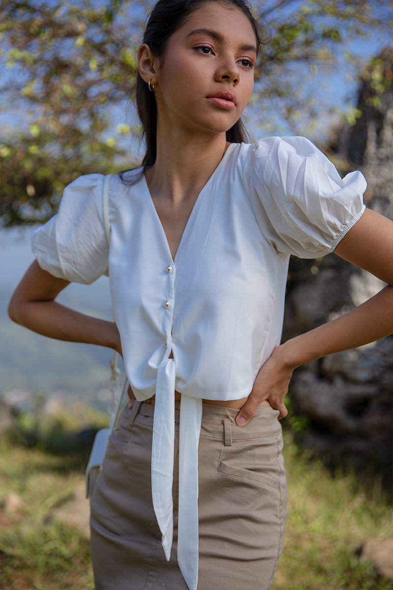 Becca Front Tie Puff Sleeve Top Ivory