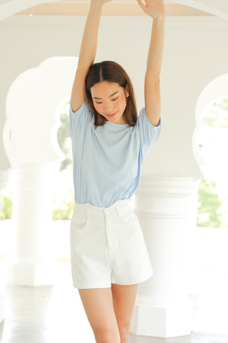 Serenity Puff Sleeve Cut Out Top Sky