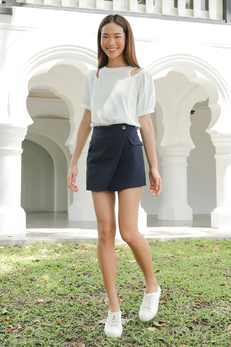 Serenity Puff Sleeve Cut Out Top Ivory