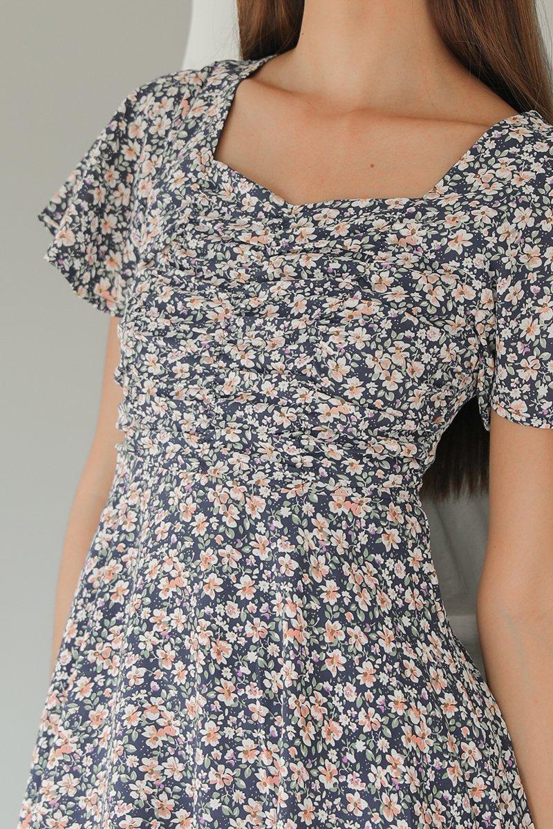 Ferlynn Puff Sleeve Floral Dress Midnight