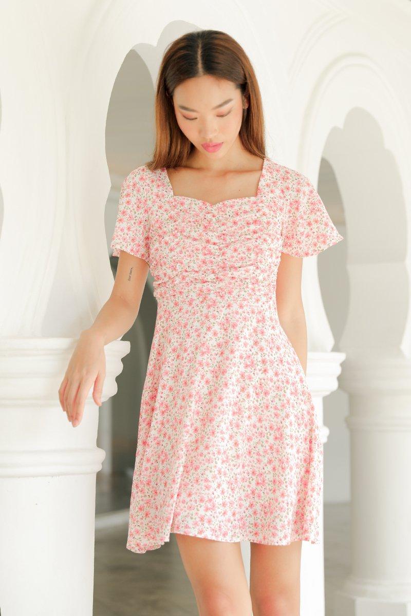 Ferlynn Puff Sleeve Floral Dress Blush