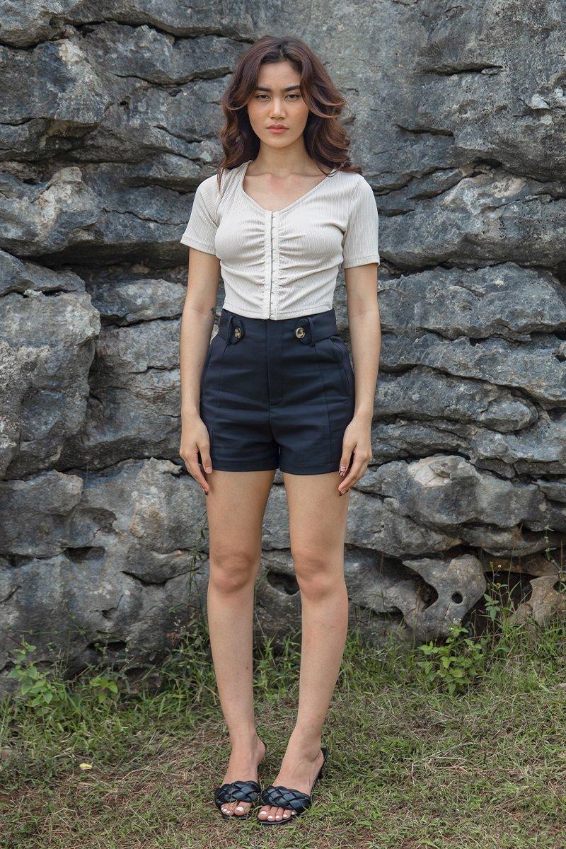 Mavi Tortoise Shell Button Shorts Black