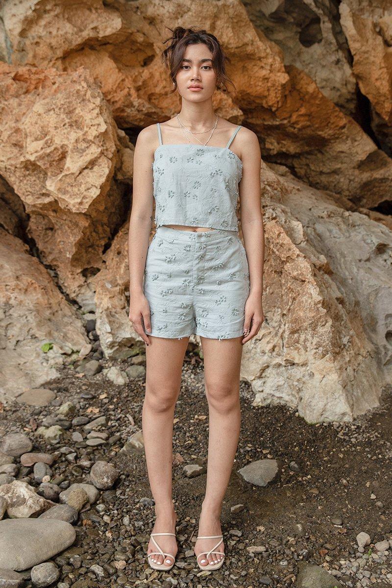 Fiorello Floral Embroidery Shorts Sage