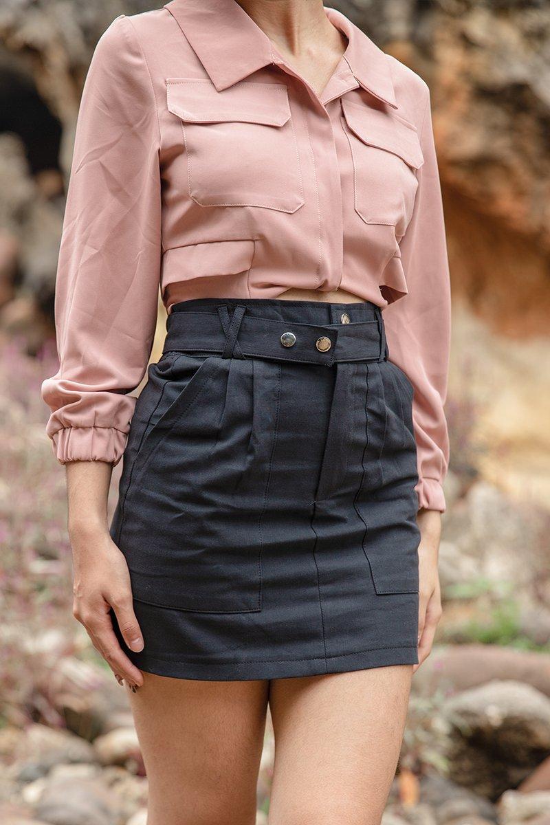Ines Belted Skirt Black