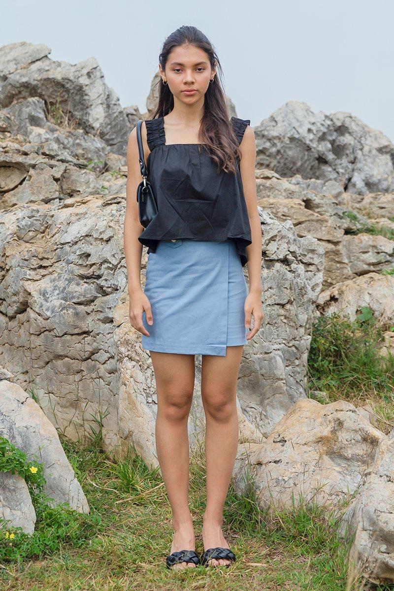 Ottilia Belted Denim Skirt Sky