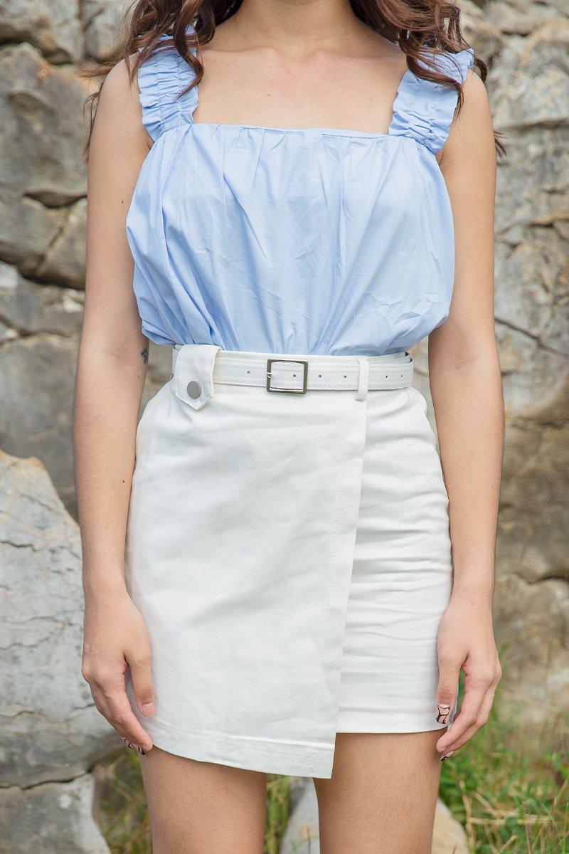Ottilia Belted Denim Skirt Ivory