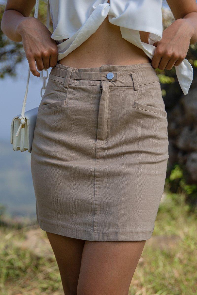 Carrie A Line Mini Skirt Brown