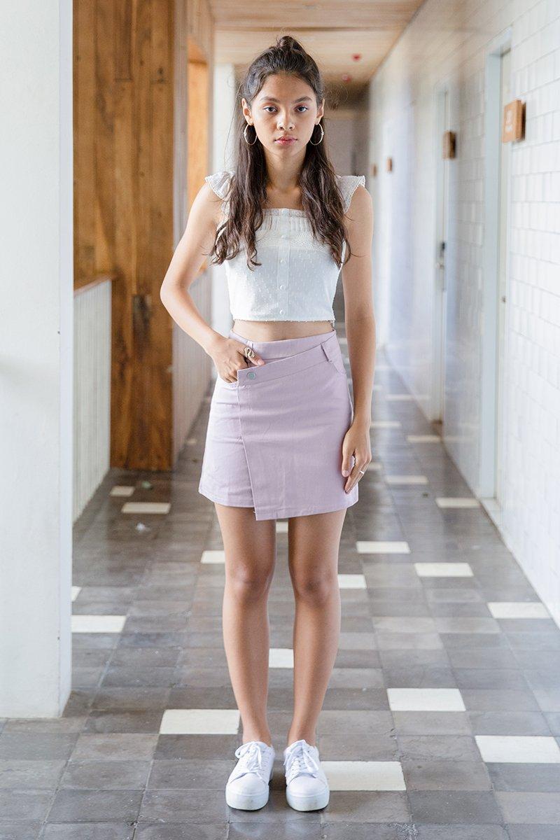 Iveline Asymmetrical Denim Skirt Blush